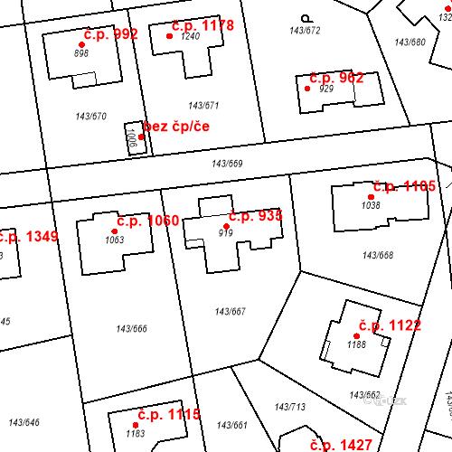 Katastrální mapa Stavební objekt Jesenice 935, Jesenice