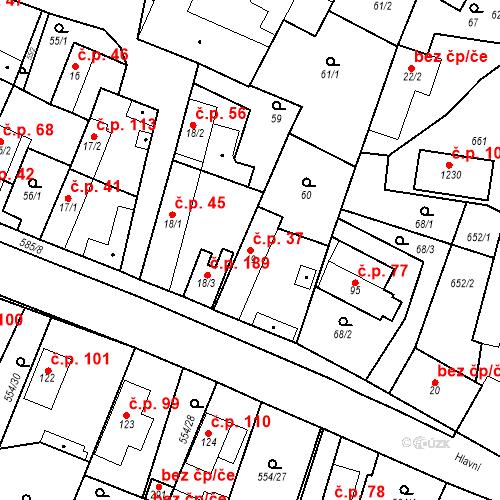 Katastrální mapa Stavební objekt Bašť 37, Bašť