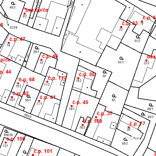 Katastrální mapa Stavební objekt Bašť 56, Bašť