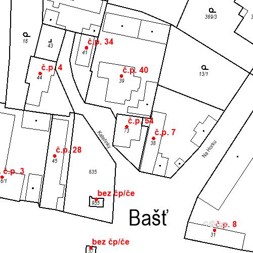 Katastrální mapa Stavební objekt Bašť 54, Bašť