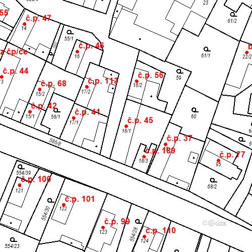Katastrální mapa Stavební objekt Bašť 45, Bašť