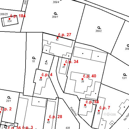 Katastrální mapa Stavební objekt Bašť 34, Bašť