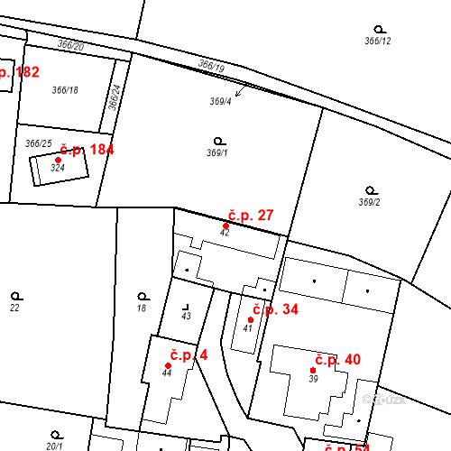 Katastrální mapa Stavební objekt Bašť 27, Bašť