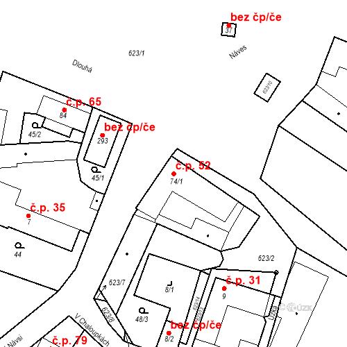 Katastrální mapa Stavební objekt Bašť 52, Bašť