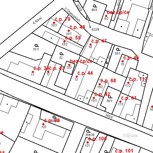 Katastrální mapa Stavební objekt Bašť 44, Bašť