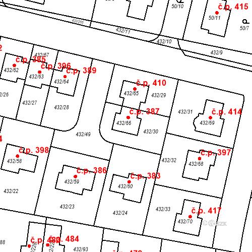 Katastrální mapa Stavební objekt Březiněves 387, Praha