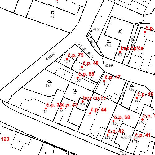 Katastrální mapa Stavební objekt Bašť 55, Bašť