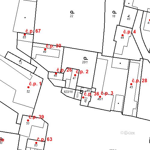 Katastrální mapa Stavební objekt Bašť 2, Bašť