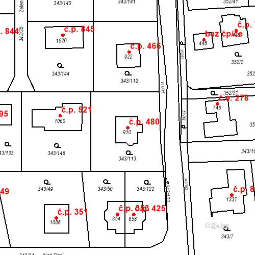 Katastrální mapa Stavební objekt Dolní Jirčany 480, Psáry