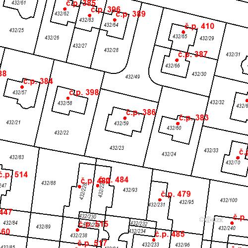 Katastrální mapa Stavební objekt Březiněves 386, Praha