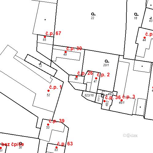 Katastrální mapa Stavební objekt Bašť 26, Bašť