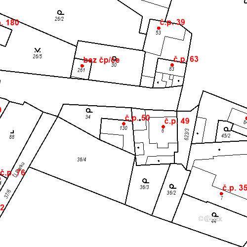 Katastrální mapa Stavební objekt Bašť 50, Bašť