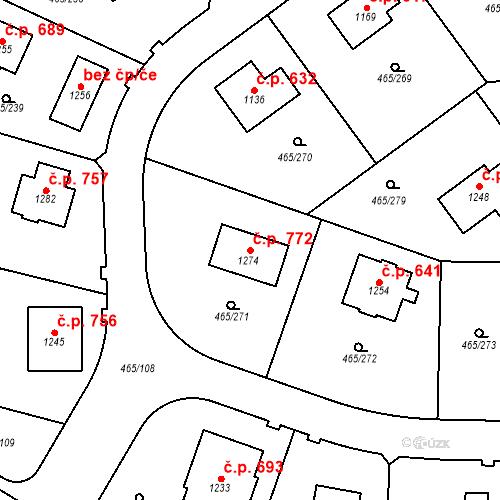 Katastrální mapa Stavební objekt Dolní Jirčany 772, Psáry