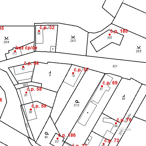 Katastrální mapa Stavební objekt Bašť 57, Bašť