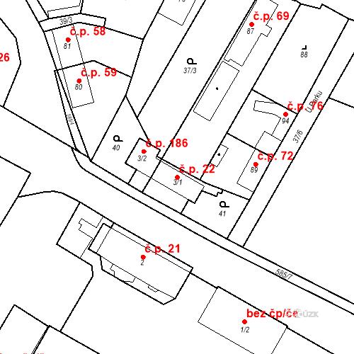 Katastrální mapa Stavební objekt Bašť 22, Bašť