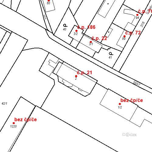 Katastrální mapa Stavební objekt Bašť 21, Bašť