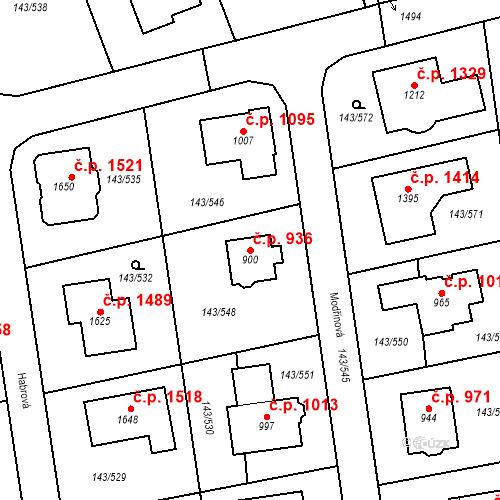 Katastrální mapa Stavební objekt Jesenice 936, Jesenice