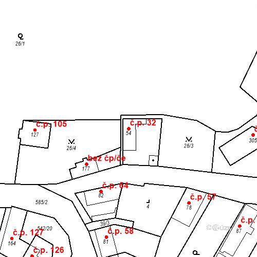 Katastrální mapa Stavební objekt Bašť 32, Bašť
