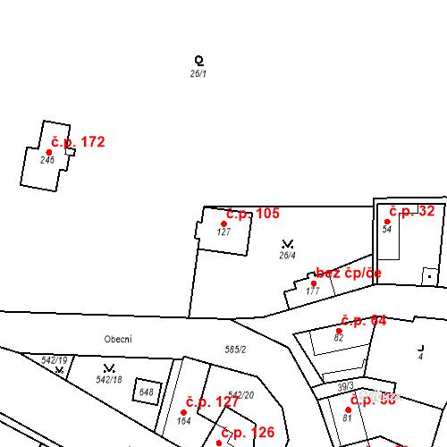 Katastrální mapa Stavební objekt Bašť 105, Bašť