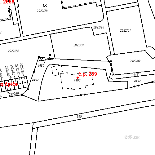 Katastrální mapa Stavební objekt Žižkov 259, Praha