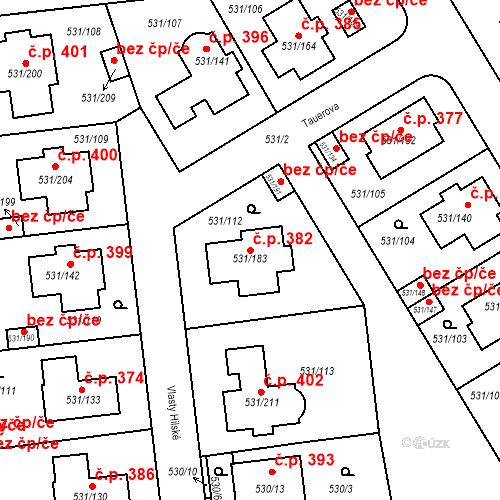 Katastrální mapa Stavební objekt Šeberov 382, Praha