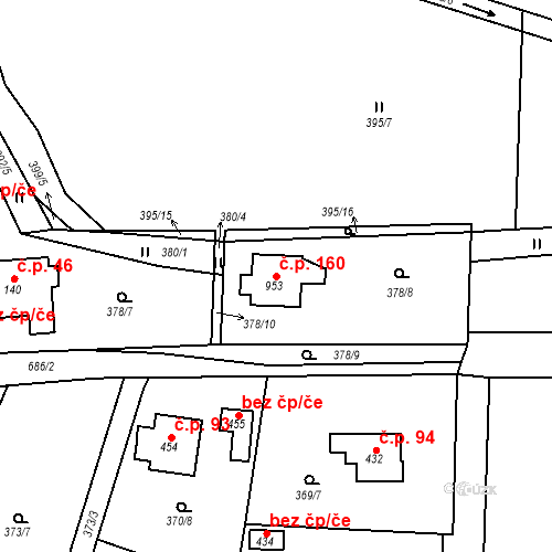 Katastrální mapa Stavební objekt Dolní Jirčany 160, Psáry