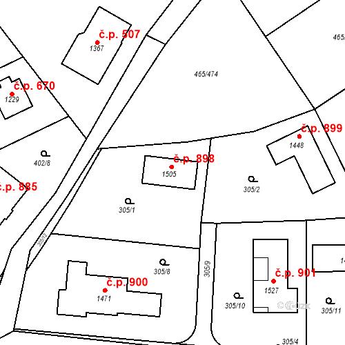 Katastrální mapa Stavební objekt Dolní Jirčany 898, Psáry