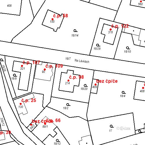 Katastrální mapa Stavební objekt Bořanovice 98, Bořanovice