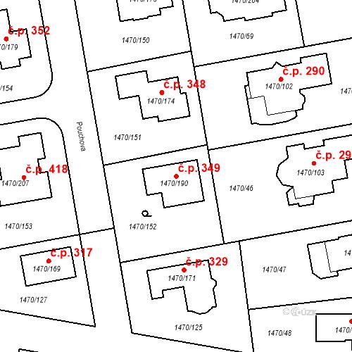 Katastrální mapa Stavební objekt Šeberov 349, Praha