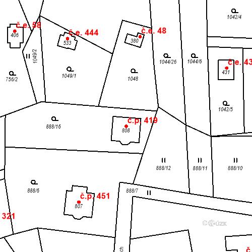 Katastrální mapa Stavební objekt Psáry 419, Psáry
