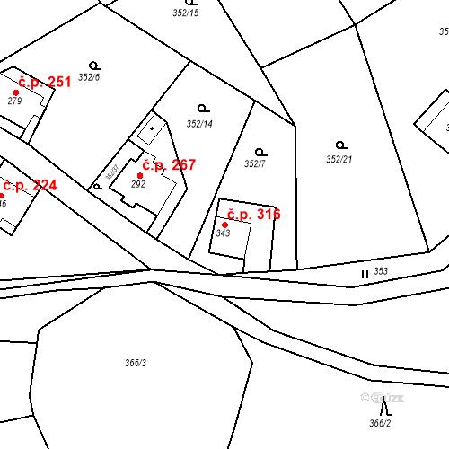 Katastrální mapa Stavební objekt Dolní Poustevna 316, Dolní Poustevna
