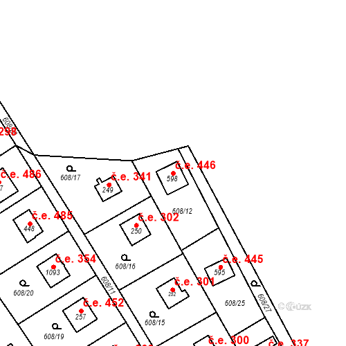 Katastrální mapa Stavební objekt Dolní Jirčany 446, Psáry