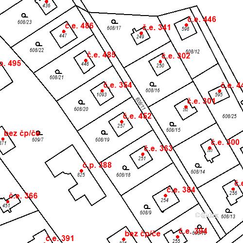 Katastrální mapa Stavební objekt Dolní Jirčany 452, Psáry