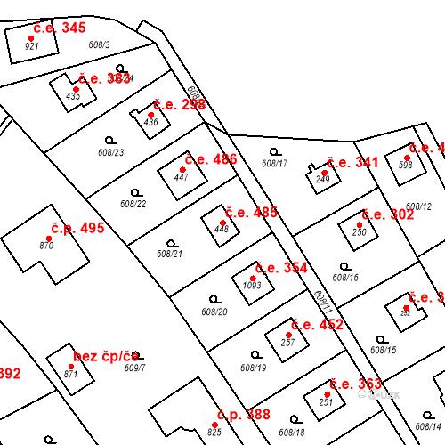 Katastrální mapa Stavební objekt Dolní Jirčany 485, Psáry