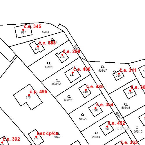 Katastrální mapa Stavební objekt Dolní Jirčany 486, Psáry