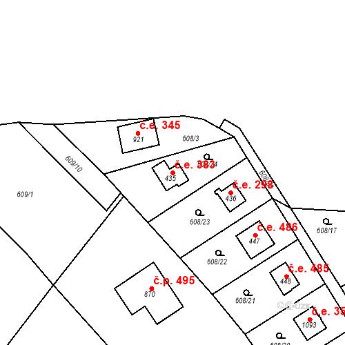 Katastrální mapa Stavební objekt Dolní Jirčany 383, Psáry