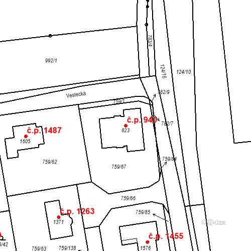 Katastrální mapa Stavební objekt Jesenice 940, Jesenice