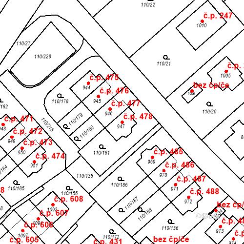 Katastrální mapa Stavební objekt Dolní Jirčany 478, Psáry