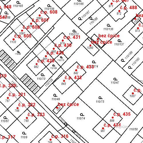 Katastrální mapa Stavební objekt Psáry 433, Psáry