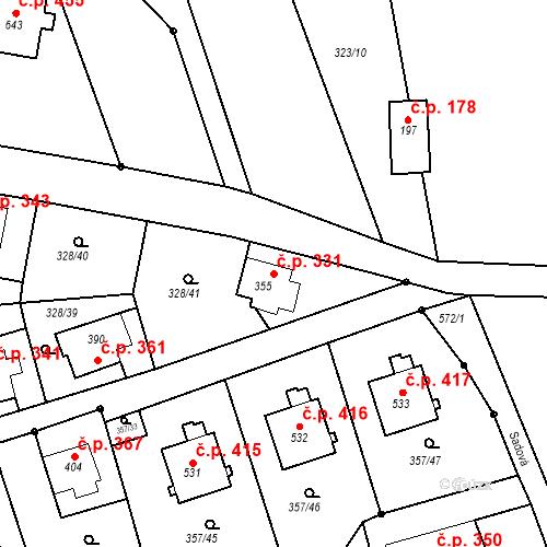 Katastrální mapa Stavební objekt Dolní Poustevna 331, Dolní Poustevna
