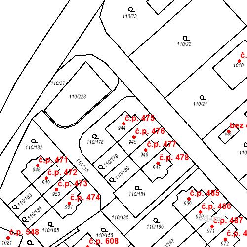 Katastrální mapa Stavební objekt Dolní Jirčany 475, Psáry