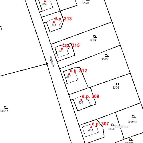 Katastrální mapa Stavební objekt Dolní Poustevna 312, Dolní Poustevna