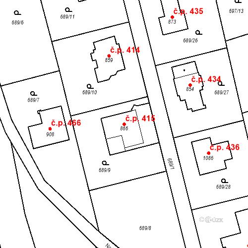 Katastrální mapa Stavební objekt Psáry 415, Psáry