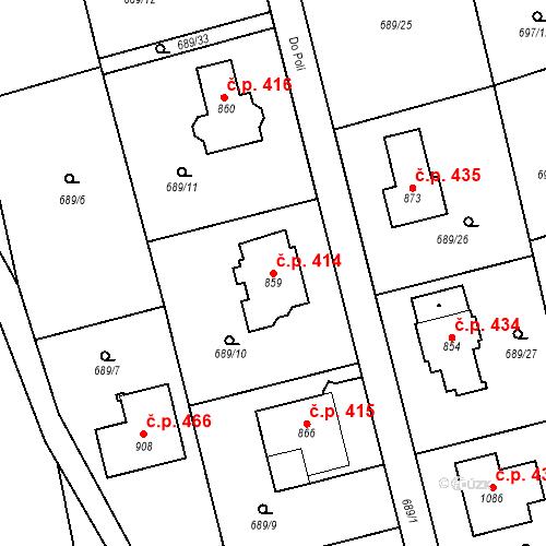 Katastrální mapa Stavební objekt Psáry 414, Psáry