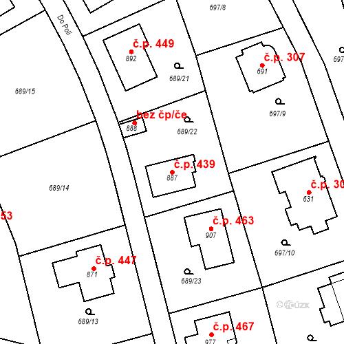 Katastrální mapa Stavební objekt Psáry 439, Psáry