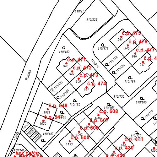 Katastrální mapa Stavební objekt Dolní Jirčany 473, Psáry