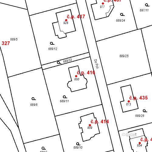 Katastrální mapa Stavební objekt Psáry 416, Psáry