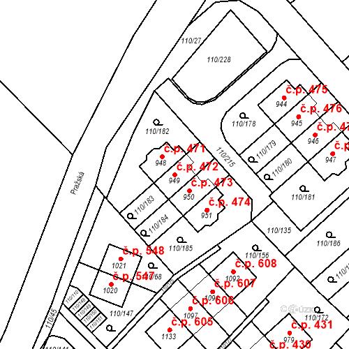 Katastrální mapa Stavební objekt Dolní Jirčany 472, Psáry