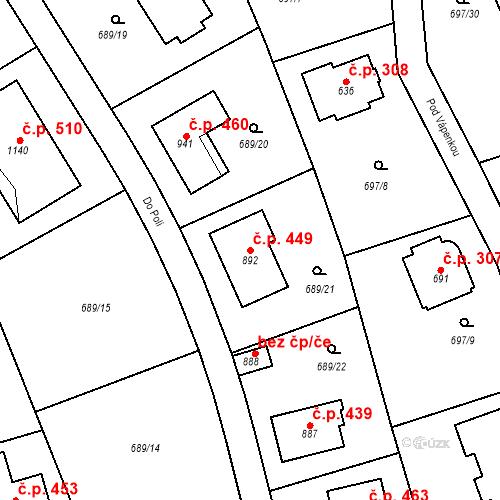 Katastrální mapa Stavební objekt Psáry 449, Psáry