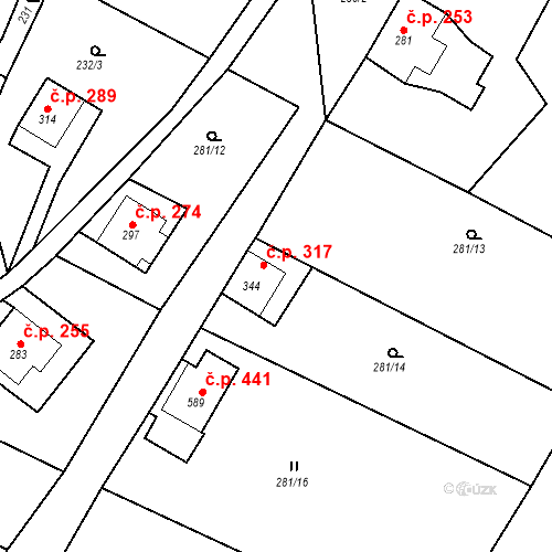 Katastrální mapa Stavební objekt Dolní Poustevna 317, Dolní Poustevna